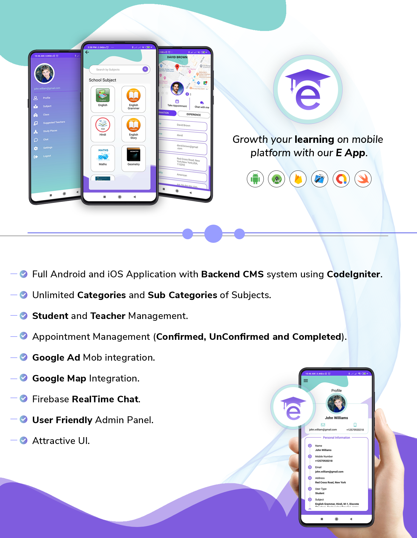 E-Guru Tutor App :- Android & iOS App with Admin Panel ( Teacher Student App) - 1